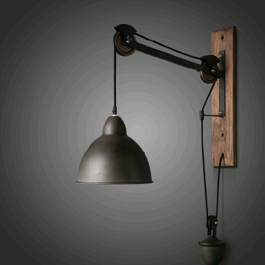 Rustic vintage rope wall lamp personalized long arm wall lights solid wood wall lamp wall lamp