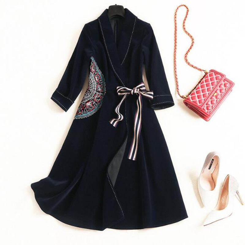 Long sleeve Vintage Blazer Dress new Spring fashion Lapel Lace Up  Embroidery women elegant plus size XXL velvet winter dress