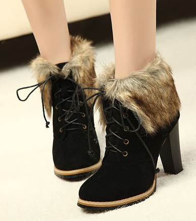 fa3af2fe8d4 Free Shipping,High Heel Fur Trim #278 Lace Up Ankle Boots,US 5-8.5,Womens/ Ladies Shoes