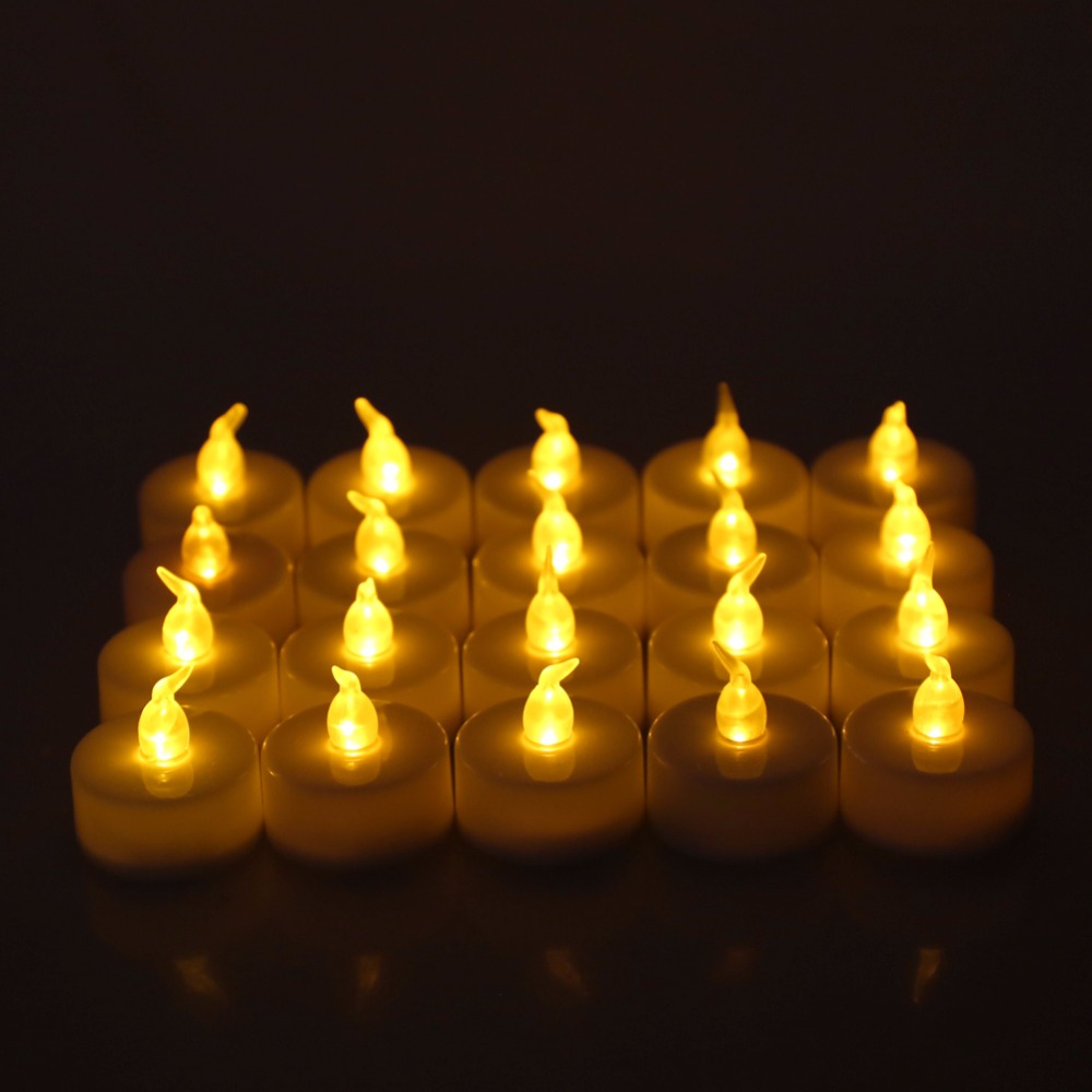 24Pcs Flameless Electronic LED Candle Flickering Tealight Night Light Home Decor