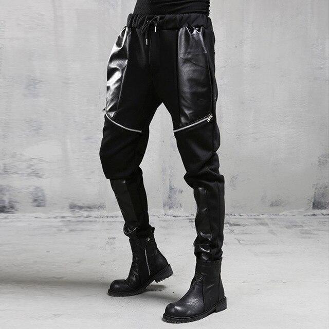 Men new casual pants punk style stitching leather zipper men fashion harem pants men autumn winter pants street trousers A196