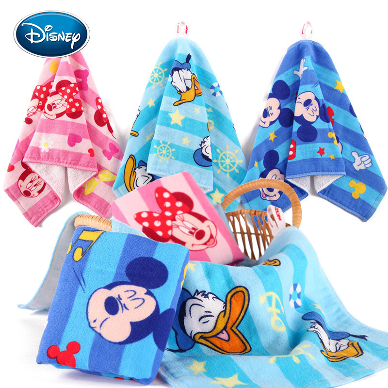 Disney Mickey Minnie Baby FaceTowel 25x50cm Cotton Children Towels Soft Cartoon Handkerchief Bath Towel For Newborns Kids Gifts