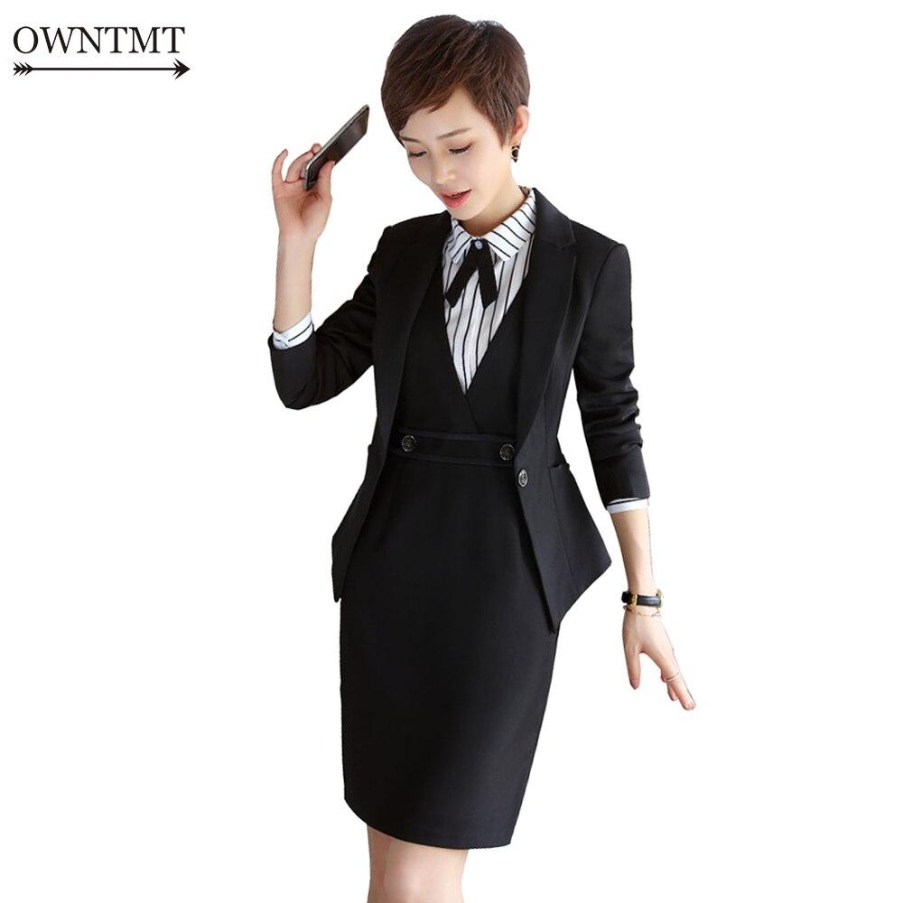 2019 Formale Elegante Damen Kleid Anzug Für Arbeit Uniform Volle Hülse Blazer Ärmelloses Kleid 2 Stück Set Für Businesss Frauen Anzug