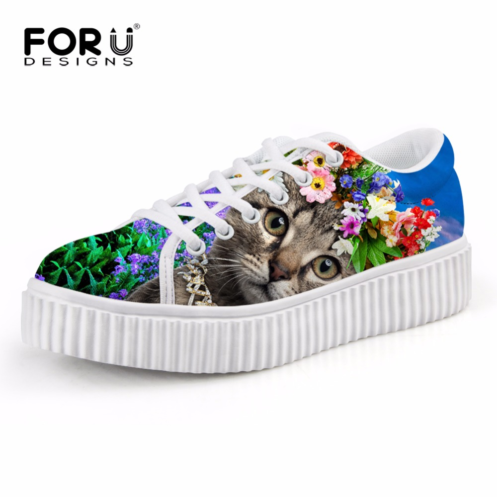 Breathable Women Shoes Flat Platform Shoes Teenage Girls 3D Pet Cat Print Spring Autumn Flats Female Casual Thick Creepers Shoes free shipping candy color women garden shoes breathable women beach shoes hsa21