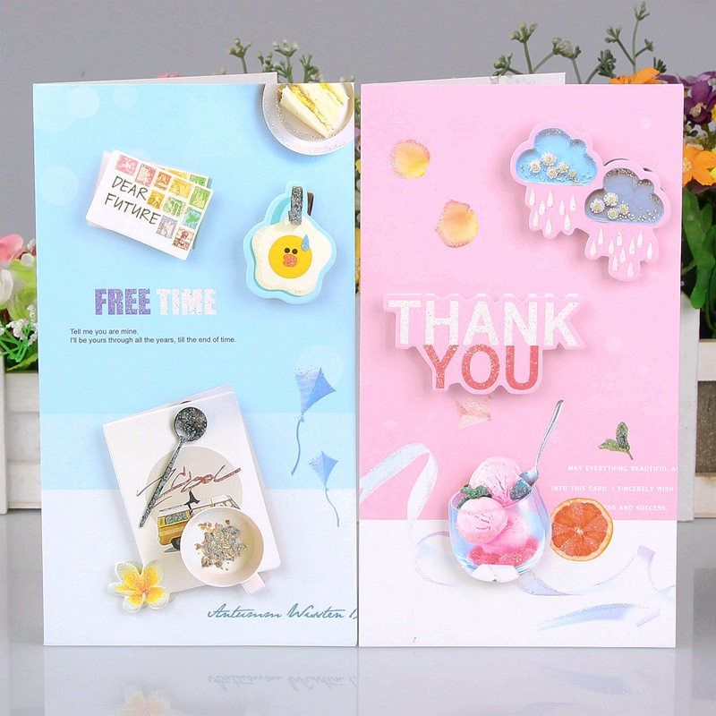 24pc/lot Universal 3D Message Business Thank You Card / Wish Birthday Card/greeting Festival Paper Cards With Envelope