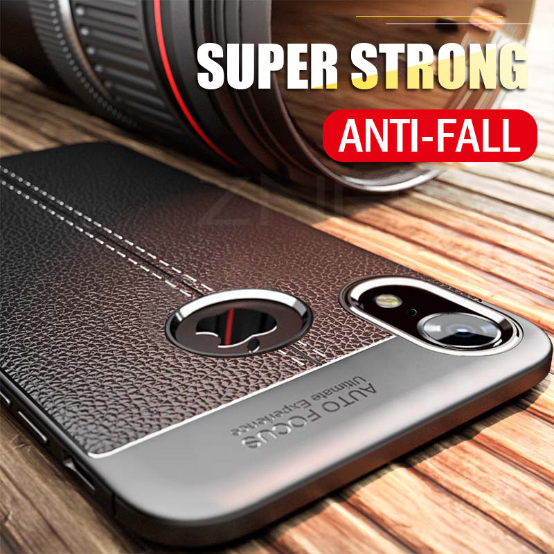 Coque souple en cuir de luxe en Silicone pour iphone 7 8 6 6s PLus X couverture complète pour iphone X Xr Xs Max coque bumper résistante aux chocs