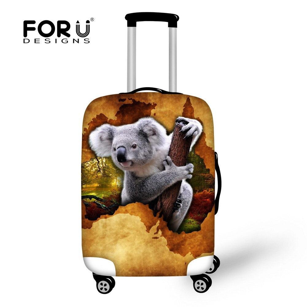 Fashion Travel Cute Koala Black Luggage Suitcase Protector Washable Baggage Covers