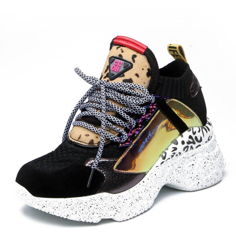 新 2019 本革スニーカー女性スポーツカジュアルプラットフォームチャンキースニーカーブランドのデザイナーのファッションセクシーなお父さんの靴  グループ上の 靴 からの レディースヴァルカナイズシューズ の中 1
