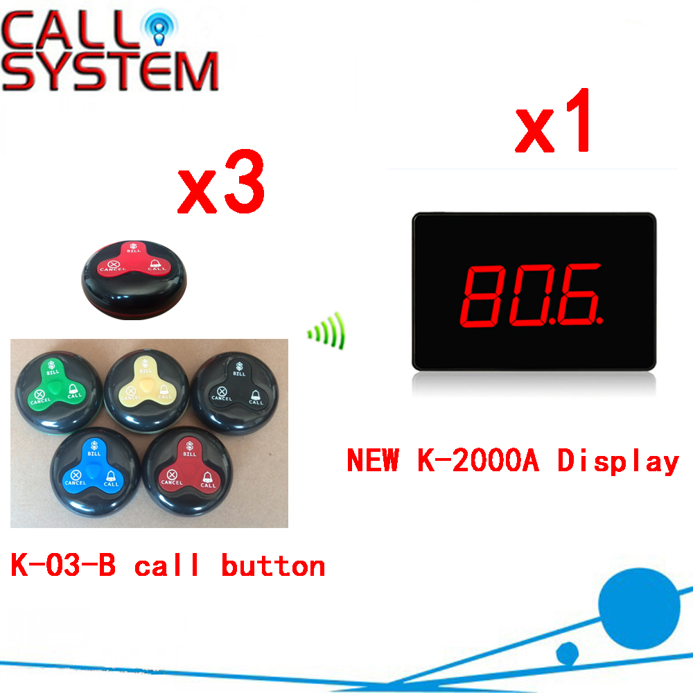 Wireless Calling Service Call Button Pager System Ycall Waiter Pager Restaurant Button Service Customer(1 display+3 call button) one set wireless system waiter caller bell service 1 watch wrist pager with 5pcs table customer button ce passed