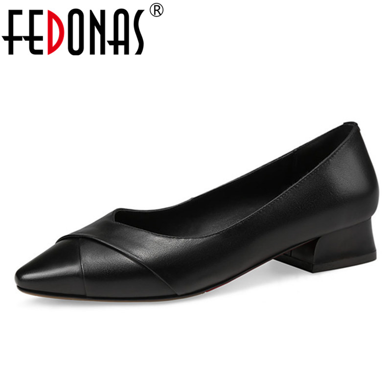 FEDONAS New Women Shallow Office Shoes Woman Concise Solid Genuine Leather Pumps Pointed Toe Wedding Ladies