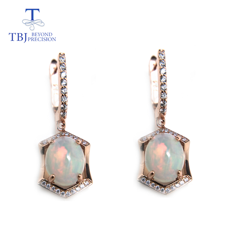 TBJ,classic Design Clasp Earring With Natural Opal Oval 8*10mm Gemstone 925 Sterling Silver Fine Jewelry For Women Nice Gift