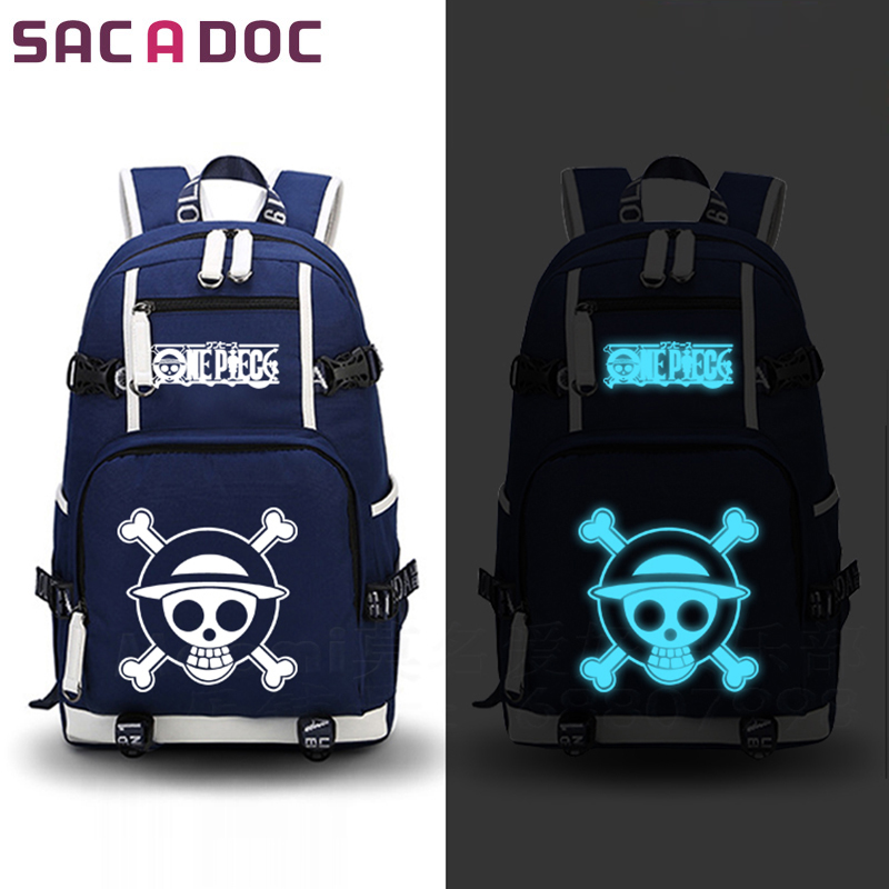 One Piece backpack Anime Luffy Zoro Prints School Bags Luminous mochila mujer men backpacks for Teenagers