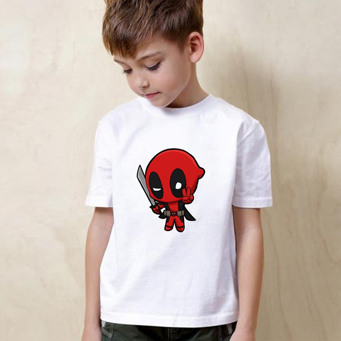 Birthday Present Spider Man Deadpool Cute Cartoon Modal Kidswear Boy girl Summer T shirt Short Sleeve White Kid Clothes in Matching Family Outfits from Mother Kids