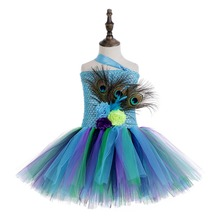 Peacock Feather Flower Girl Tutu Dress for Kids One Shoulder Knee Length Wedding Birthday Party Girls Clothes 10 12 Year