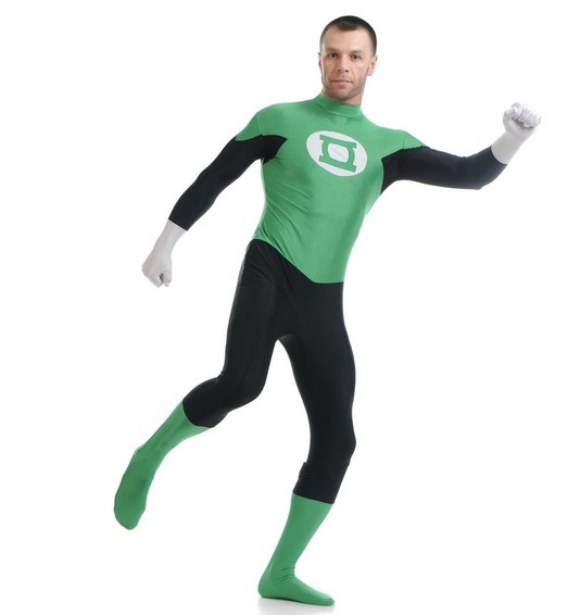 Green And Black Universe Green Lantern Superhero Costume Male Zentai Catsuit For Halloween Cosplay Costume