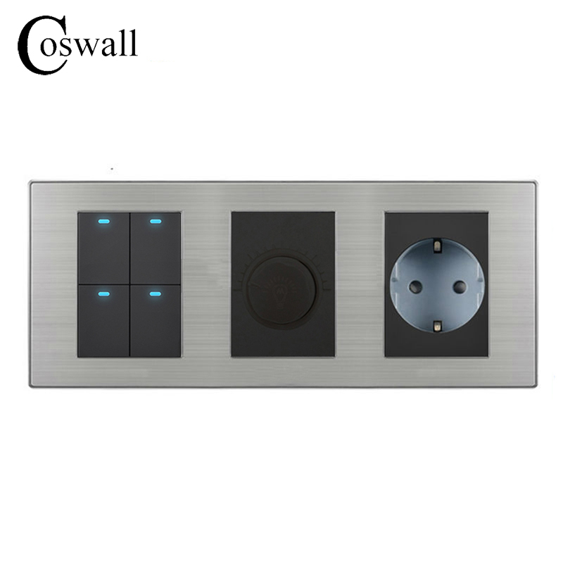 Coswall 4 Gang 2 Way On / Off LED Light Switch + Dimmer With 16A EU Standard Wall Socket Stainless Steel Panel 236*86mm