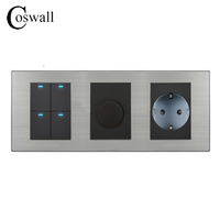 Coswall 4 Gang 2 Way Push Button LED Light Switch + Dimmer With 16A EU Standard Wall Socket Stainless Steel Panel 236*86mm