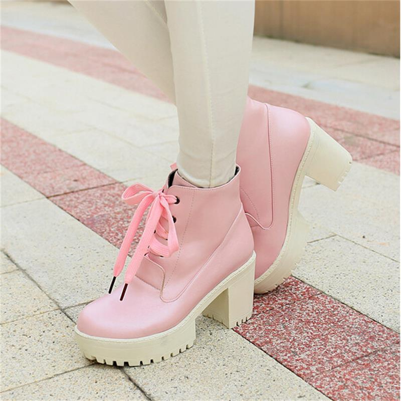 7f1115193c0 Womens Roman Ankle Boots Chunky Heels Lace Up Punk Creeper Block Heels  Chunky Heels Platform Black White Blue Pink Size 34 43-in Ankle Boots from  Shoes on ...