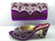 Luxus pu-leder schuhe pass mit handtasche stellt für partei dame African sandale und für MF09 Lila farbe