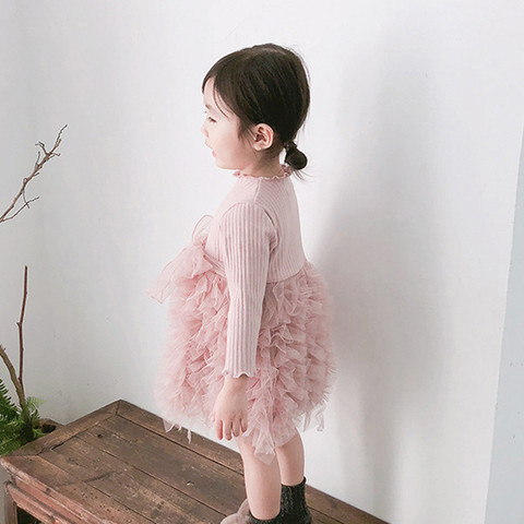 MUQGEW Baby Kids Girls Clothes Knit Bow Tulle Princess Tutu Ball Gown Party Dress Clothes New born Baby Clothes Dress Karachi