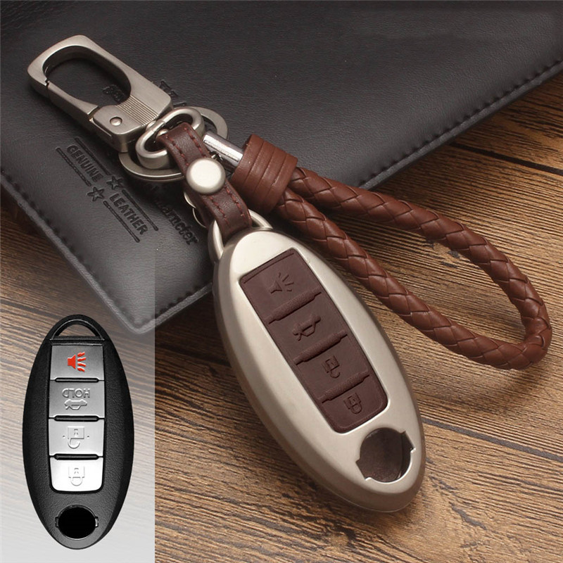 Zinc Alloy+Leather Car Key Cover Case For Nissan Qashqai J11 X-Trail t30 t31 t32 Pathfinder Tiida Teana Note Juke 2014 2015 2016 car styling luminous temporary parking card phone number plate sucker car sticker for nissan qashqai x trail tiida juke note