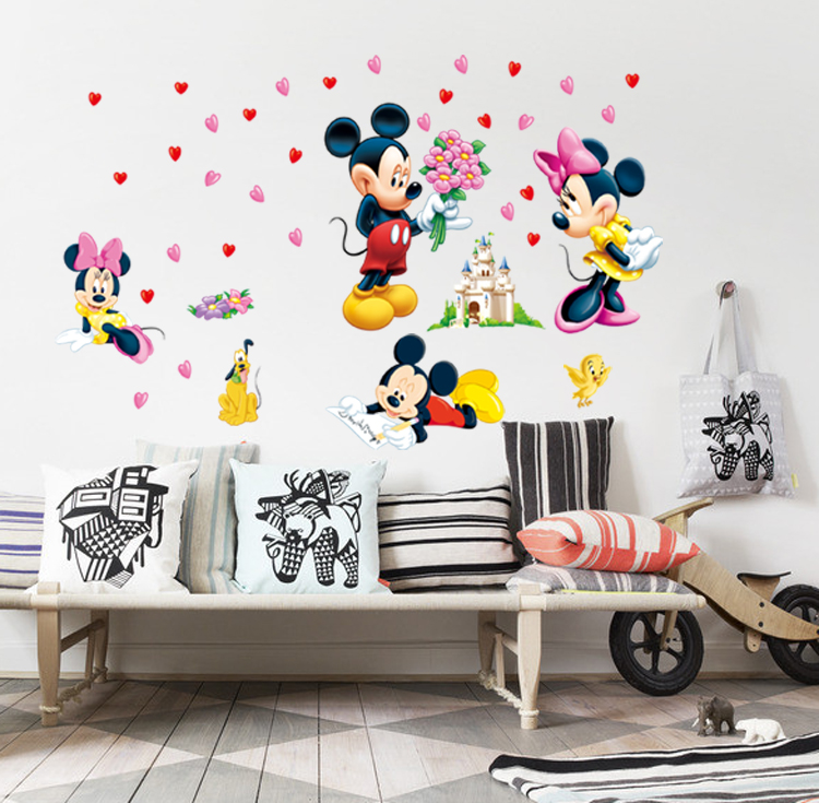 Online Shop Mickey U0026 Minnie Wall Stickers Decals For Kid Room Kindergarten  Cartoon Character Removable Vinyl Stickers Muraux Salon | Aliexpress Mobile