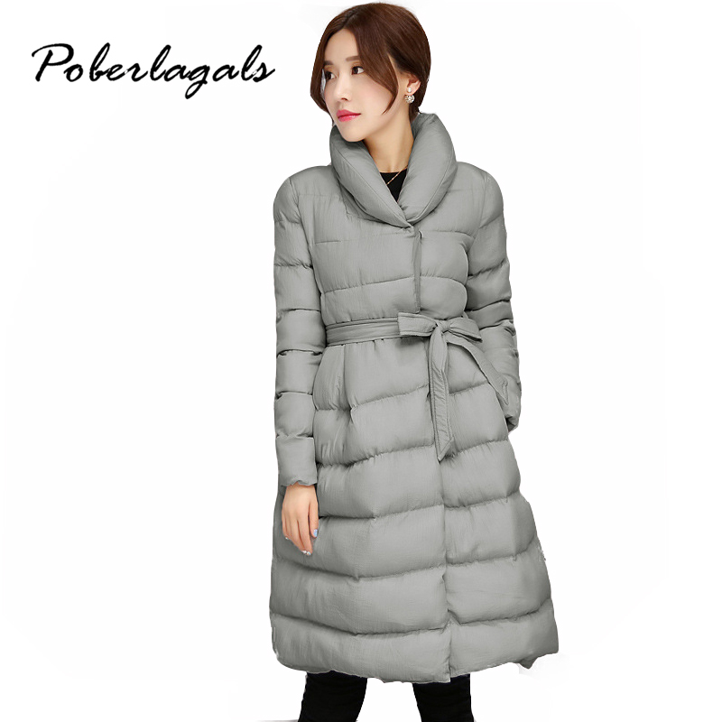 Winter 2016 Fashion female Snow jacket parkas women A word belt Long Thick Cotton down Padded Jacket Coat Snow Coats outerwear children winter coats jacket baby boys warm outerwear thickening outdoors kids snow proof coat parkas cotton padded clothes