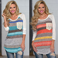 New Summer 2016 Korean Casual Striped T Shirt Women Long Sleeve Loose T-Shirt Tops For Women Clothing Plus Size