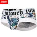 New Intouch men's boxer underwear fashion print cotton sexy low waist boxer