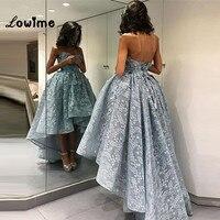 Высокий Низкий Кружева платья для выпускного вечера Формальное вечернее праздничное платье для свадьбы реальное изображение Vestido Longo; элег