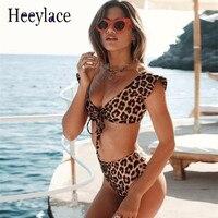 2018 Lato stroje kąpielowe Bandaż Sexy kobiety Body Leopard Wydrukowano Backless Fitness Tight Pajacyki kobiet Kombinezon kostium kąpielowy