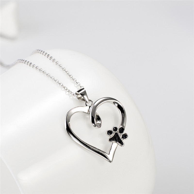 Necklace 925 sterling silver heart pendants necklaces with black cz necklace 925 sterling silver heart pendants necklaces with black cz dog paw fashion jewelry gifts for women 2018 new gnx10879 in pendant necklaces from aloadofball Gallery