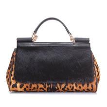 f6fd11b21e free shipping Genuine leather horsehair women s handbag 2017fashion leopard  print elegant women s fur bags messenger bag