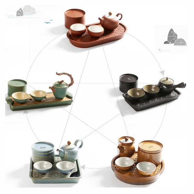 1 Teapot 2 Tea Cup with Tray Tea Pot Caddy Five Elements Kungfu ...