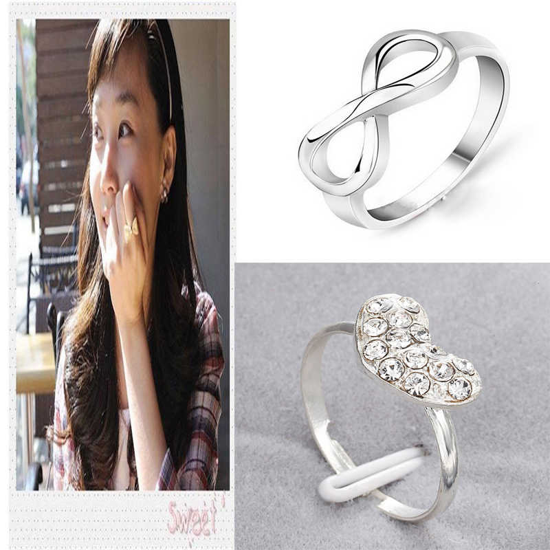 Korean Style Sweet Bow Knot Ring For Girls Simple Cute Silver Rhinestone Love Heart Ring Engagement Bridal Wedding Accessories