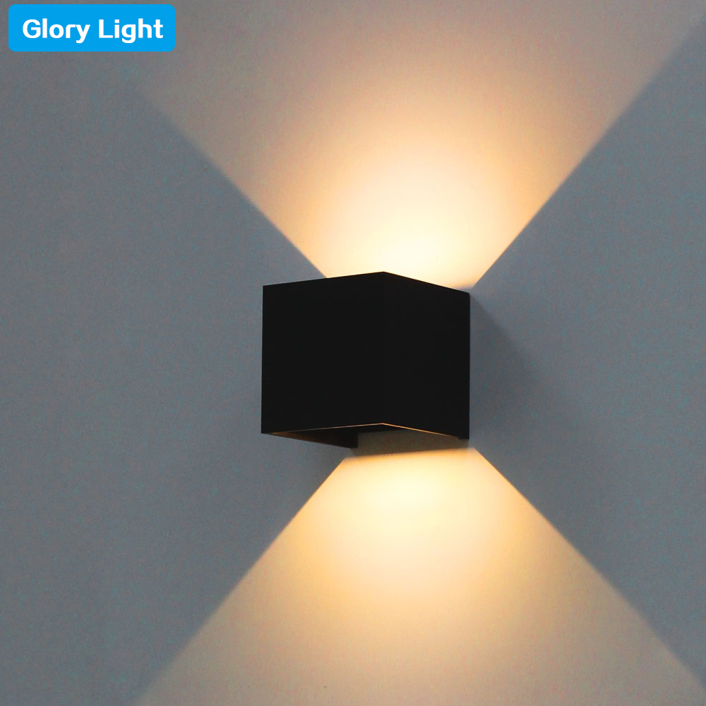 ФОТО GLORY LIGHT Modern Brief Cube Adjustable Surface Mounted Wall Lamps Outdoor Waterproof Aluminum Wall Lights Garden square sconce