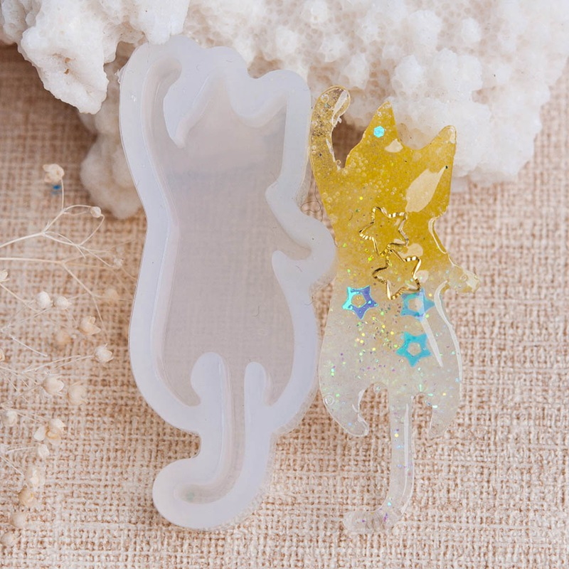 Lovely Silicone Resin Mold For Jewelry Making Cat Animal Hand Craft DIY Tools White 1 Piece animal head modeling silicone fondant mold