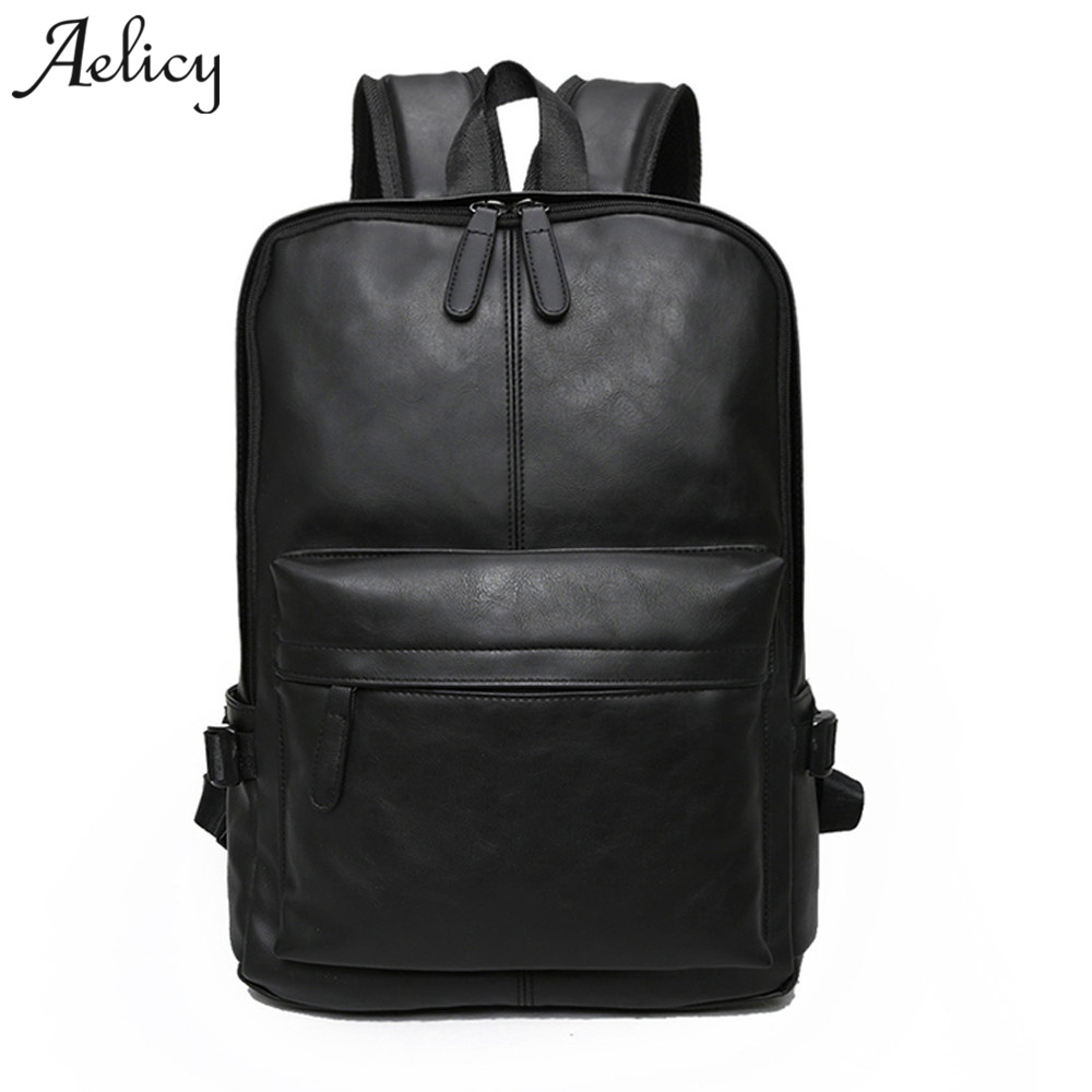Aelicy Bagpack Men Backpacks Pu Leather Vintage Laptop Backpack Fashion Women Backpack High Quality Youth Leather Women Rucksack