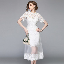 Fashion Lace Stitching Mesh Dress Clothing 2019 Summer New A-word White Sweet Gauze O-Neck Short Sleeve Mid-Calf
