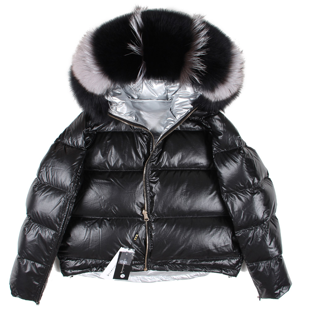 winter jacket women Down natural fox fur collar coat loose short white duck down real fur coat-in Down Coats from Women's Clothing    1