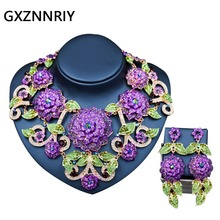 Fashion Big Flower Jewelry Sets for Women Crystal Rhinestone Wedding Gold Necklace and Earrings Set Party Jewellery Sets Gifts