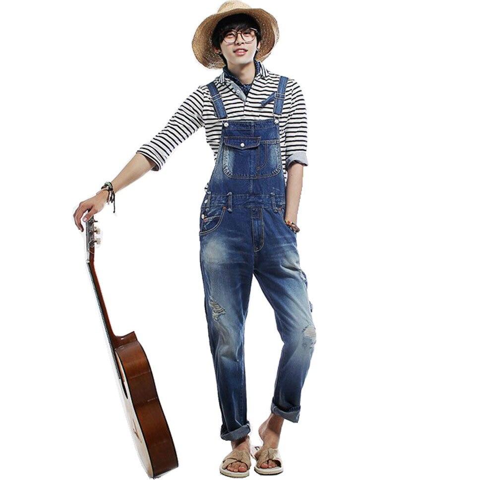 Men's Fashion Hole Suspenders Jeans Paint Denim Bib Pants