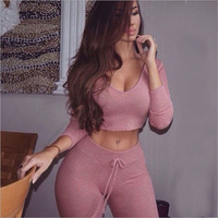 europe and american 2016 spring new style sexy fashion women jumpsuits skinny pencil pants navel two piece set rompers xw020