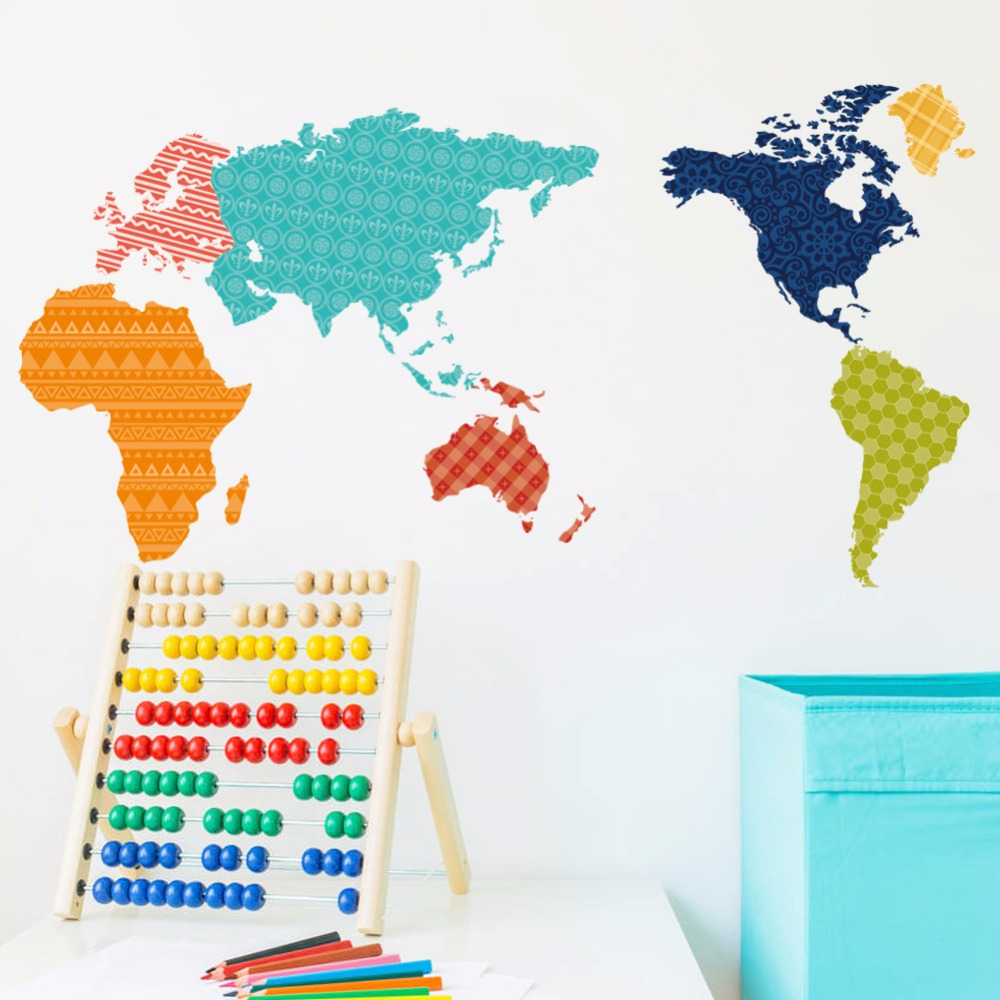 Color online world map - Big Global New Colorful World Map Wall Sticker Wall Art Decal Map Oil Paintings Home Room