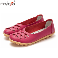 Spring Summer Women Genuine Leather Casual Shoes Nurse Shoes Breathable Driving Shoes Flats Shoes