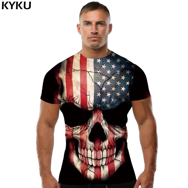 KYKU Marka Kafatası T Shirt Kan Giysi Komik Giyim Hip-Hop Tees 3D - Erkek Giyim - Fotoğraf 5
