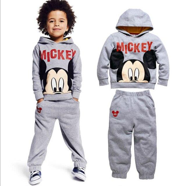 6d1a04ef24b À capuche Enfant mis automne enfants vêtements Set coton moitié Mickey  Mouse tête survêtement taille costume