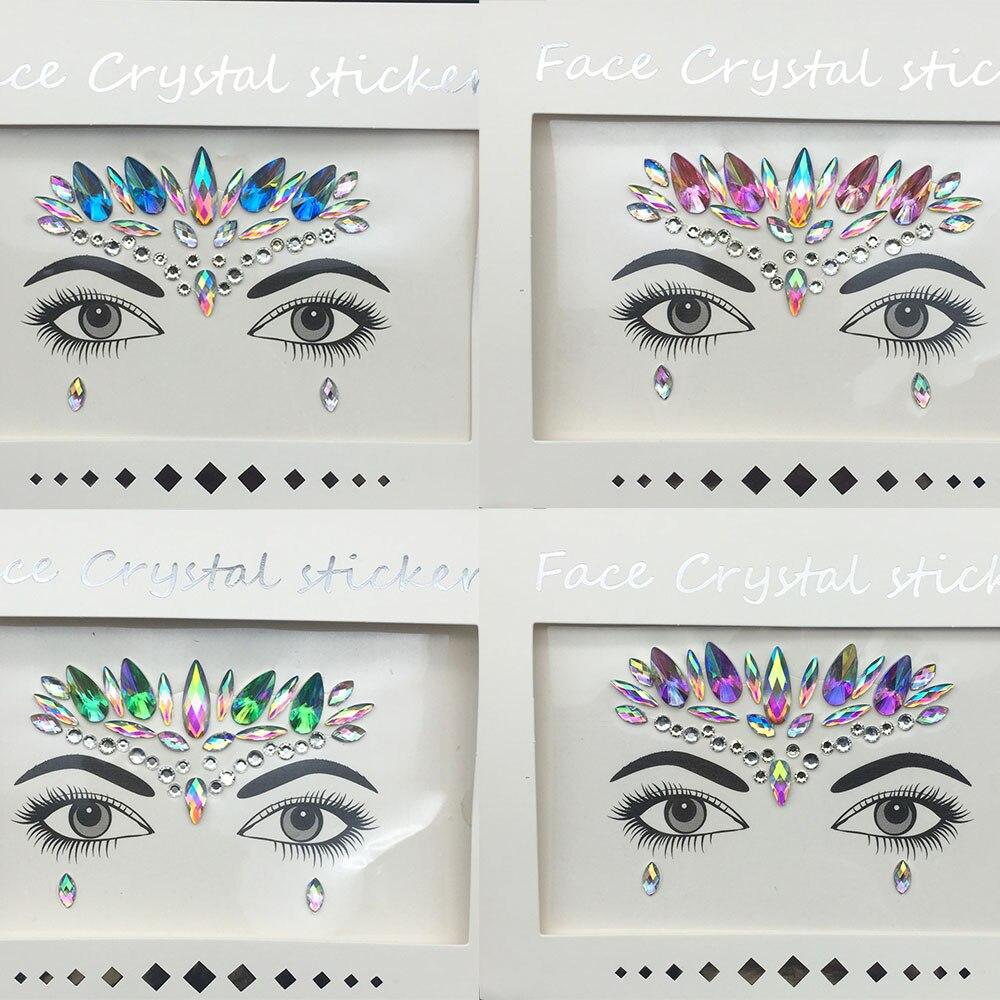 3D блестящие украшения с кристаллами, стикер для татуировки, женская мода, тело лица, драгоценные камни, цыганские праздничные украшения, веч...