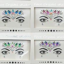 Adesivo de tatuagem 3d, adesivo para tatuagem com cristal, glitter 3d, feminino, para rosto e corpo, adesivos de beleza para festa