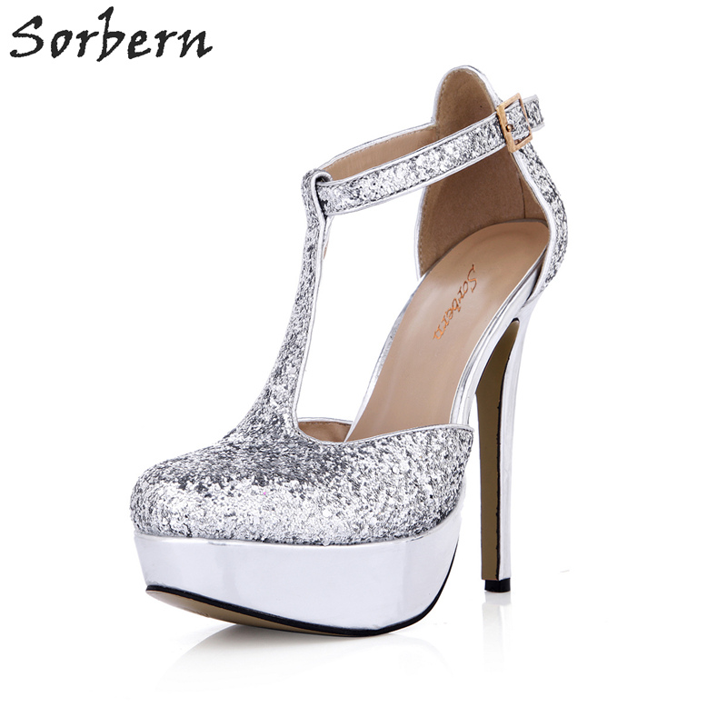 Sorbern Silver Sequins T-Straps Pointed Toe Platform Pump High Heel Shoes For Womens Blingbling Glitter Shoes Night Club Shoes